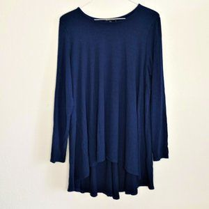 Eileen Fisher Navy Blue Tunic Blouse Large L SOFT